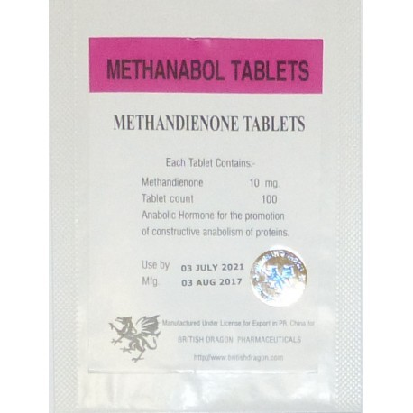 Methanabol (Methandienone) British Dragon, 100 tabs / 10 mg